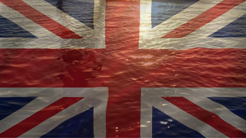 British flag with water flowing in the background Animation