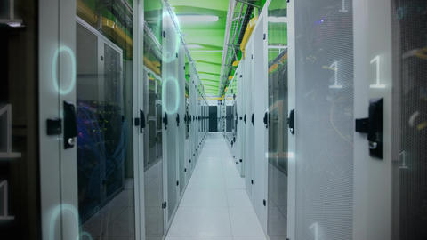 Server Room with binary numbers Animation