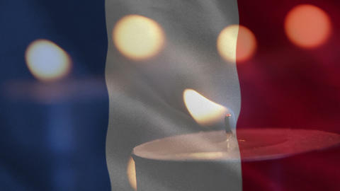 French flag with candle going out Animation