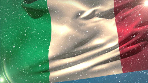 Italian flag waving in the snow Animation