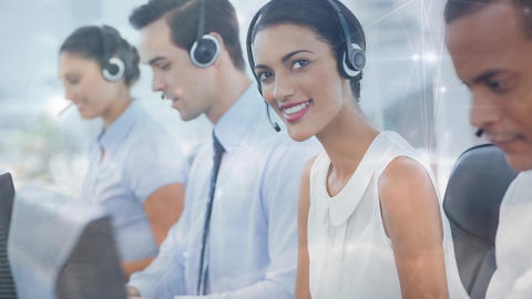 Woman working in Callcenter Animation