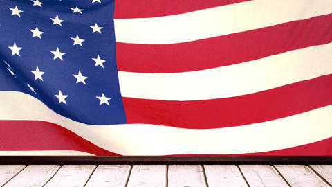 American flag with wooden tribune Animation