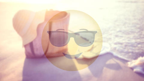 Smiley with sunglasses on the beach Animation