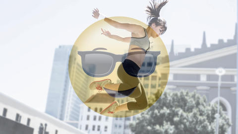 Smiley with sunglasses and active woman Animation