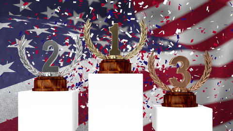 Trophies in front of waving American flag Animation