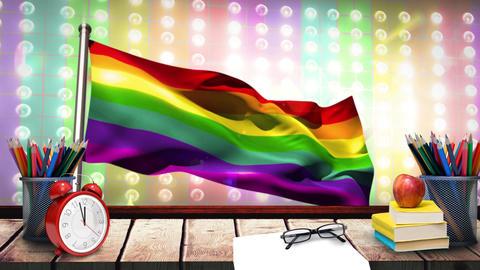 Rainbow flag and school desk Animation