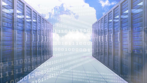 Server room with binary code and clouds Animation