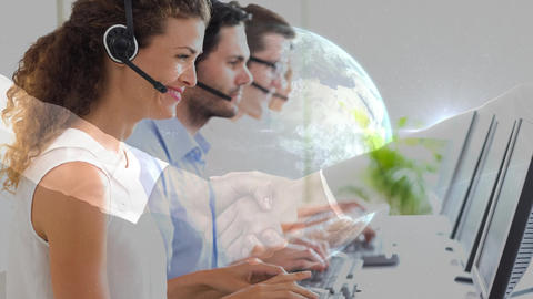 Woman working in Callcenter and handshake with planet earth background Animation