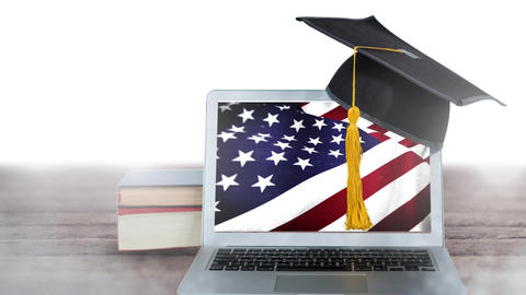 Laptop showing American flag Animation