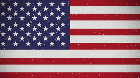 American flag with snow Animation