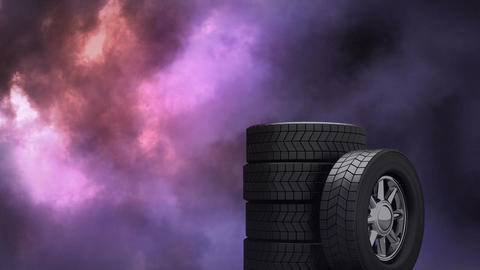 Wheels with storm in the background Animation