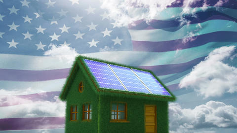 American flag and ecological house Animation