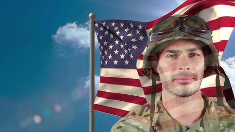 Digital animation of American soldier standing against American flag 4k Animation