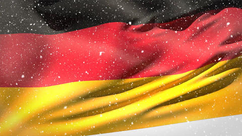 German flag waving in the snow Animation