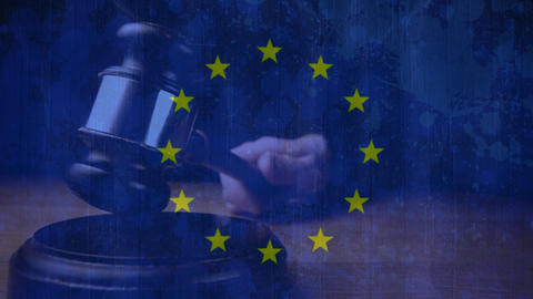 European union flag with judge hitting gavel Animation
