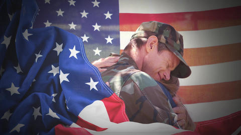 Conceptual digital animation showing a child hugging the American soldier on home returning 4k Animation
