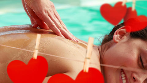 Massage on swimming pool side with cute red paper hearts for valentine day 4k Animation
