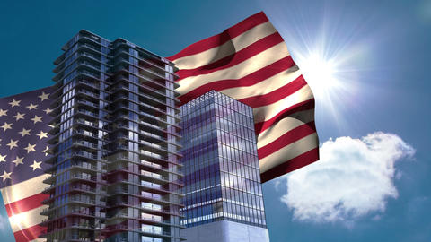Digital animation of American flag swaying in the wind against the bright sunlight 4K Animation