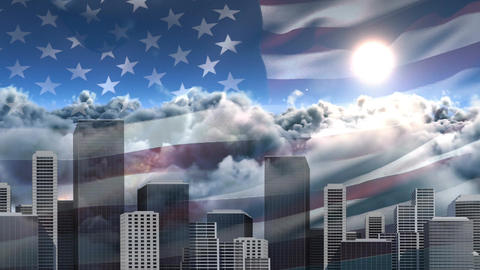 Digital animation of American flag swaying in the wind against clouds 4k Animation