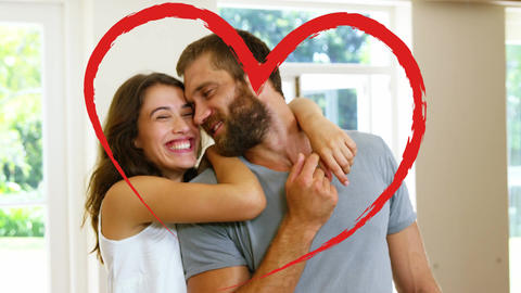 Portrait of couple cuddling at home for valentine day Animation
