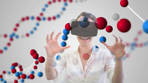 Woman using VR headset with DNA Animation