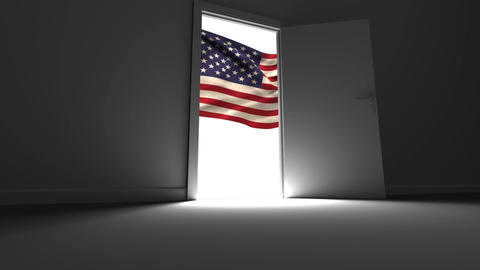 Digital animation showing American flag through the open doors 4k Animation
