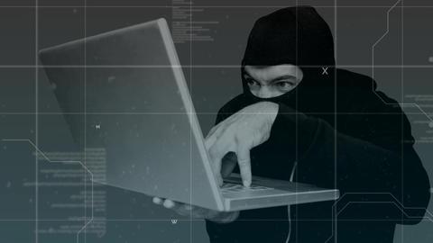 Digital animation of hacker hacking the laptop 4k, Stock Animation