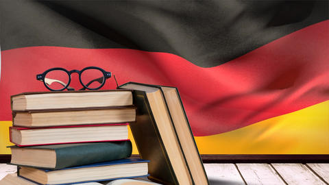 Germany flag waving behind wooden table Animation