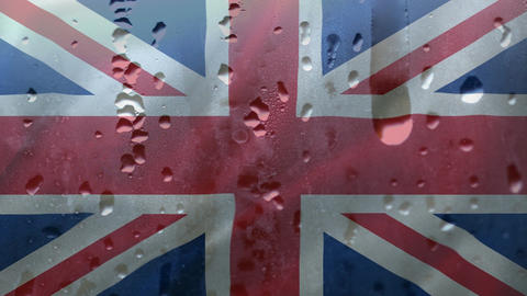 British Flag with raindrops Animation