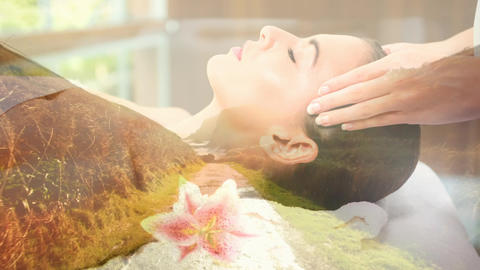 relax women during massage and landscape for valentine day Animation