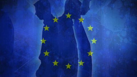 Flag of the EU and men walking Animation
