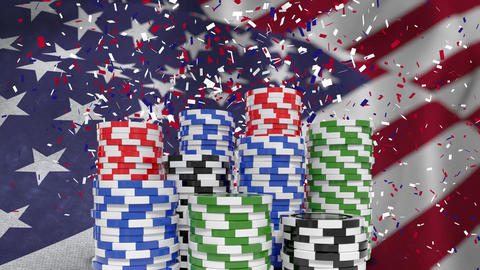 Digital animation of confetti falling on the pile of casino coins 4k Animation