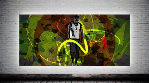 Dancing sportsman and graffiti Animation