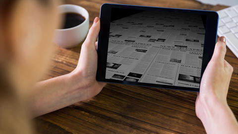 Digital animation of person browsing the newspaper on the digital tablet 4K Animation