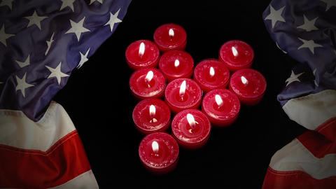 Burning Candles and american flag Animation