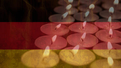 German flag behind candles Animation