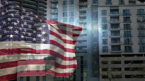 Digital Animation of American flag swaying against the buildings in city 4K Animation