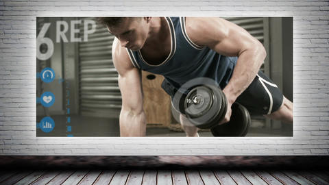 Man using weights video Animation