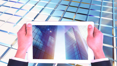 Digital animation of digital tablet screen showing high-rise commercial buildings 4k Animation