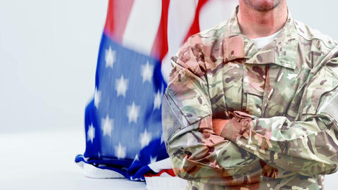 Digital animation of army soldier with arms crossed 4k Animation