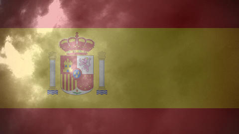 Flag of Spain and lightning Animation
