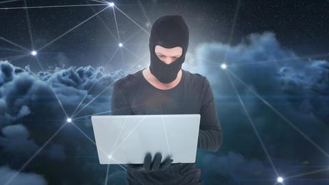 Digital animation of hacker using laptop 4k Animation