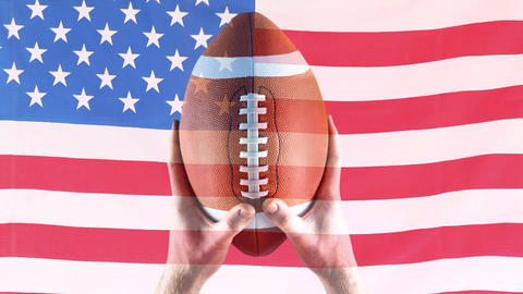 Digital animation of rugby player holding rugby ball against american flag 4k Animation