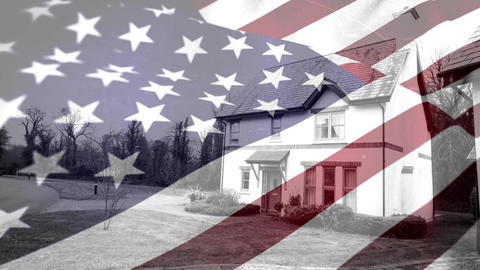 American flag with country side house Animation