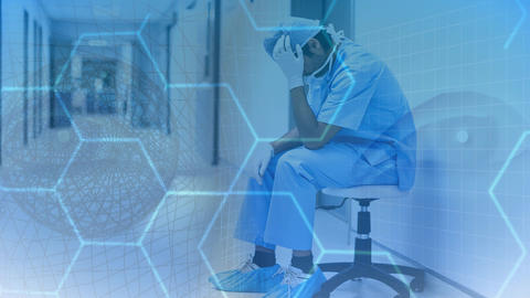 Digital animation of stressed physician sitting in the hospital corridor 4K Animation