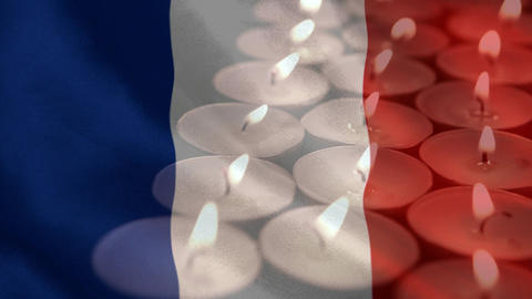 French flag with candles being blown out in the background Animation