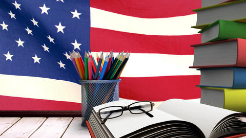American flag behind desk video, Stock Animation