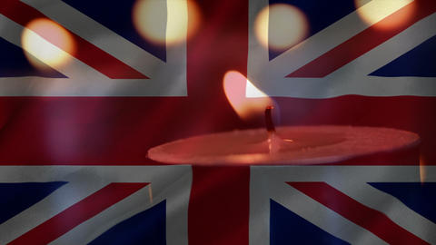 British flag with candle going out Animation