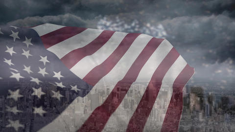 Digital animation of american flag swaying in the wind 4k Animation