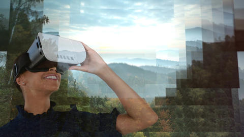 Woman using VR to watch forest landscape Animation